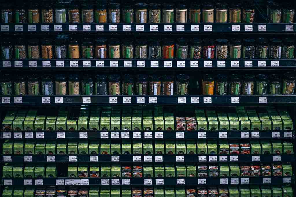 Merchandise display of herbs at the grocery store.