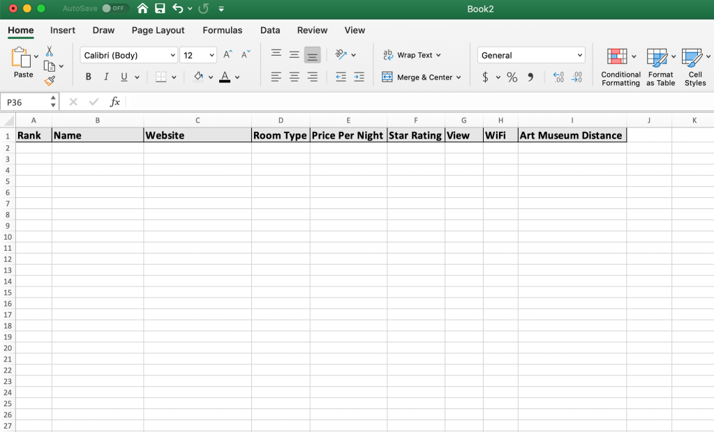 Spreadsheet setup with column headers