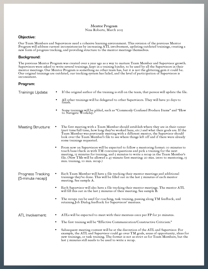 Mentor Program plan document